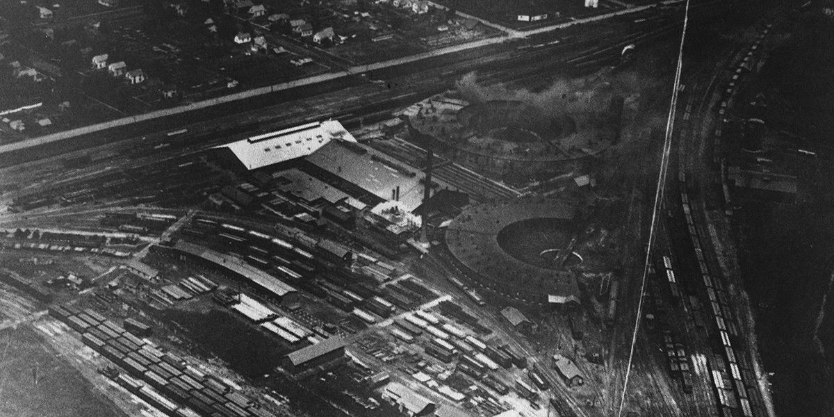 historical aerial view of the foundry at valley junction